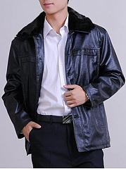 Faux-Fur-Collar-Single-Breasted-Plain-Men-PU-Leather-Coat