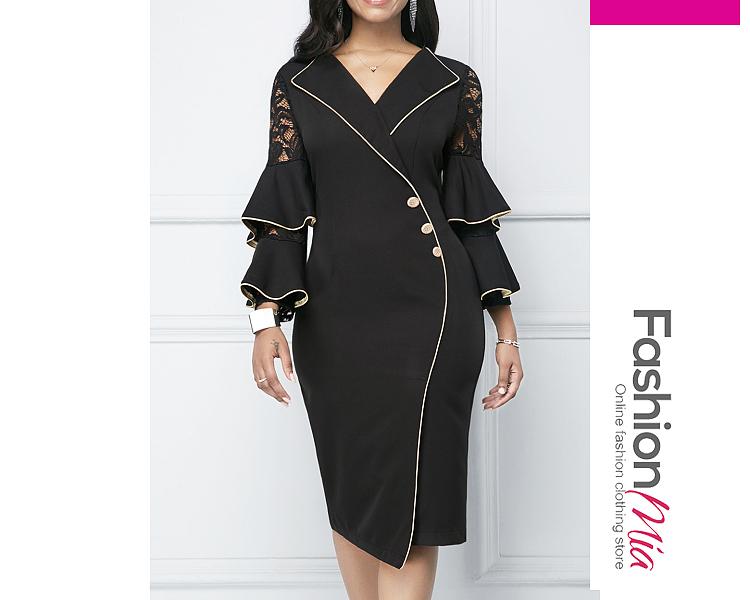 Notch Lapel  Contrast Trim  Decorative Button  Plain Bodycon Dress