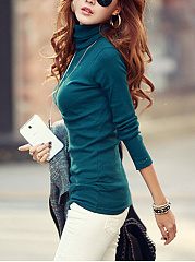 Turtleneck  Plain Long Sleeve T-Shirt
