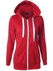 Patch Pocket Zips Plain Hoodie