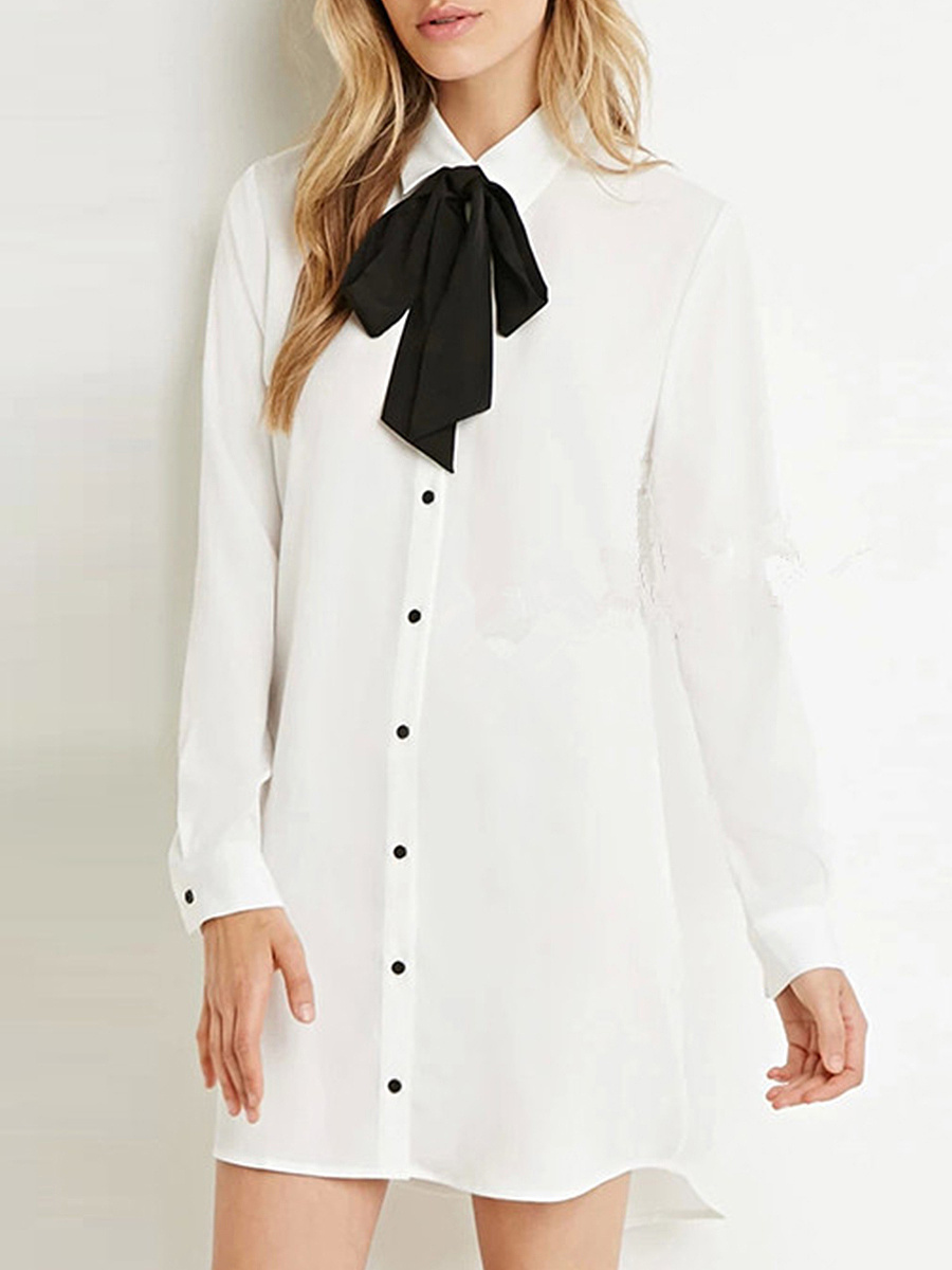 Turn Down Collar Bowknot Shirt Dress