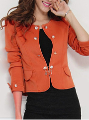 Collarless Bowknot Plain Puff Sleeve Blazer