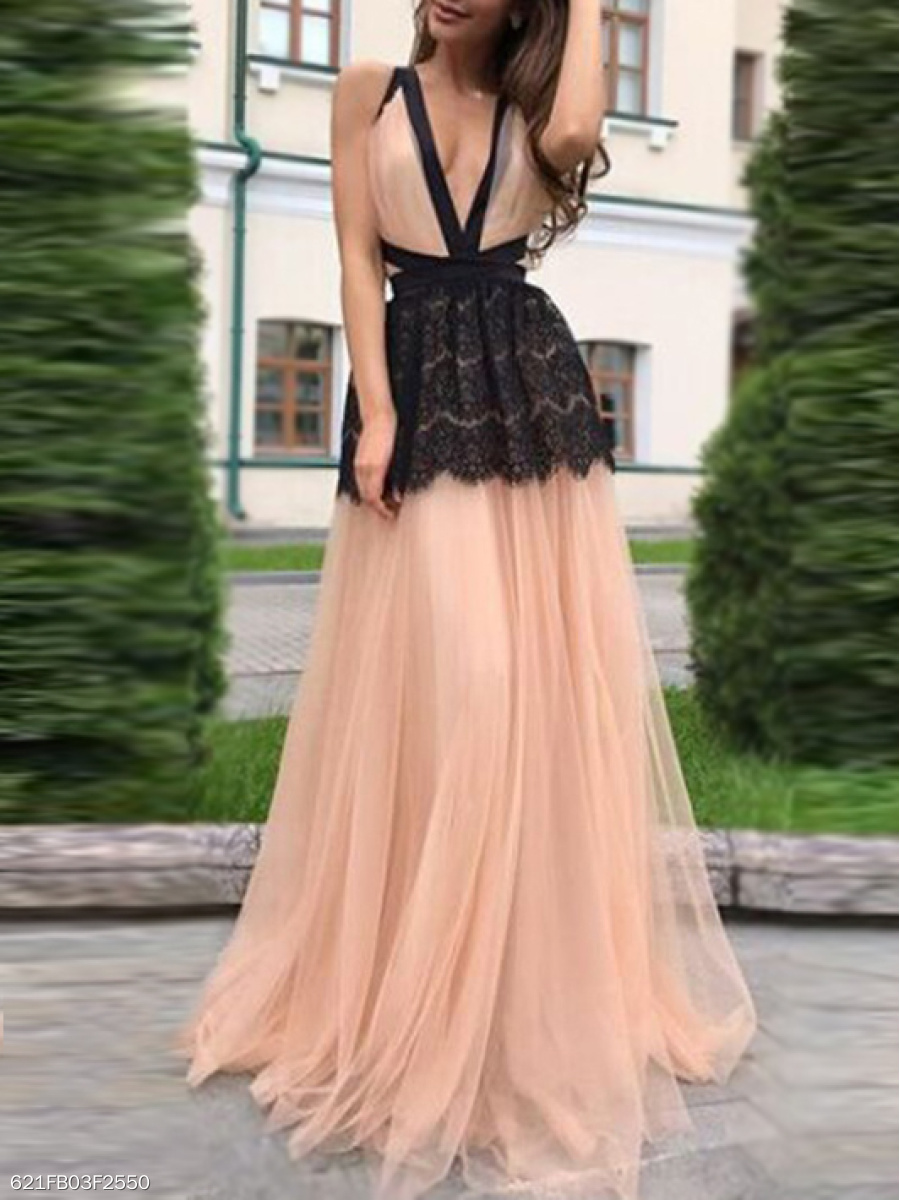 Deep V-Neck  Backless  Color Block Colouring Lace Evening Dress
