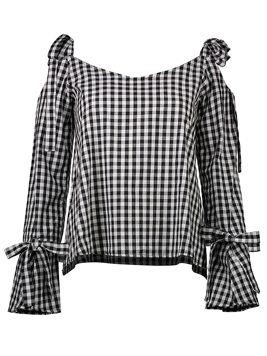 Open Shoulder  Bowknot  Plaid  Bell Sleeve T-Shirt