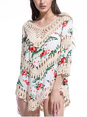 V-Neck Patchwork See-Through Crochet Floral Tunic