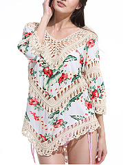 V-Neck-Patchwork-See-Through-Crochet-Floral-Tunic