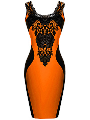 Color Block Decorative Lace Bodycon Dress