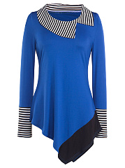 Long Sleeve Lapel  Asymmetric Hem  Striped Blouse