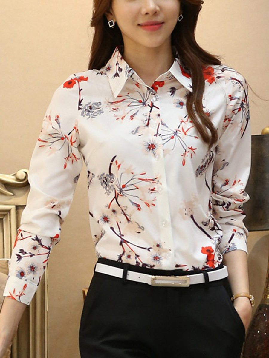 Turn Down Collar  Floral Printed Blouse