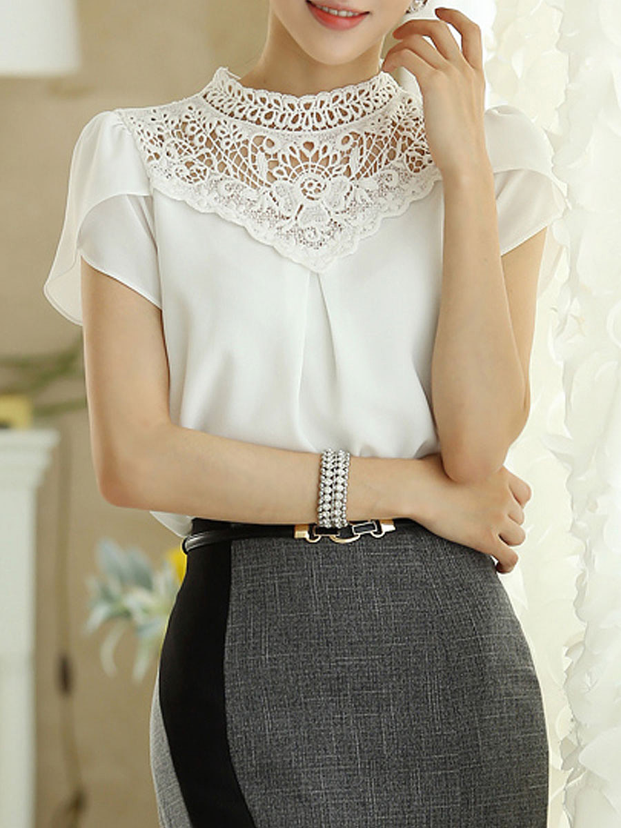Spring Summer  Polyester  Women  High Neck  Decorative Lace  Plain  Short Sleeve Blouses