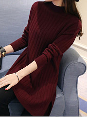High Neck  Side-Vented  Plain Longline Sweater