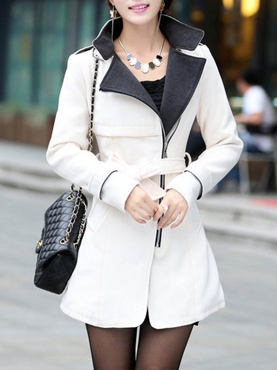 Lapel Zips Belt Pocket Woolen Coat