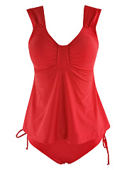 Sweet-Heart-Drawstring-Solid-Swimwear-In-Red