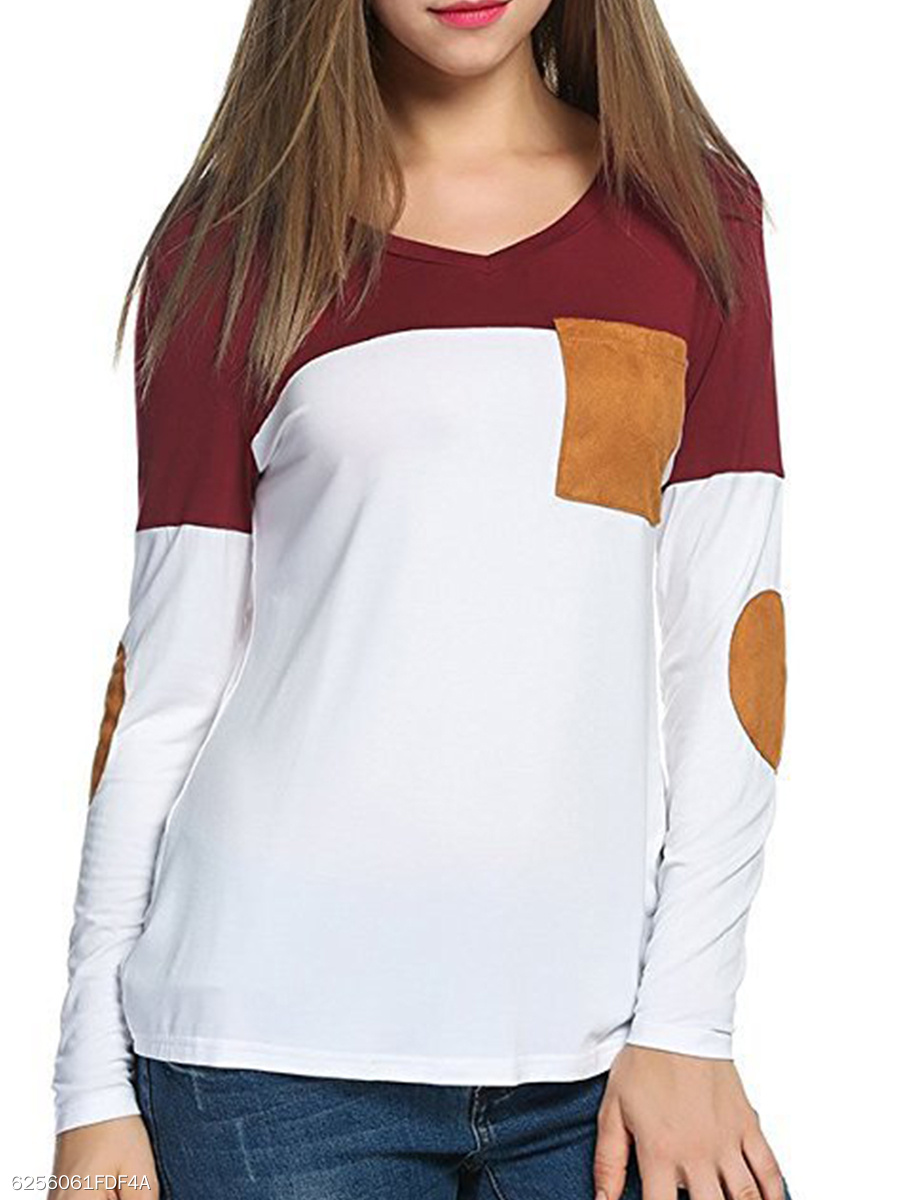Round Neck  Patch Pocket  Patchwork Long Sleeve T-Shirts