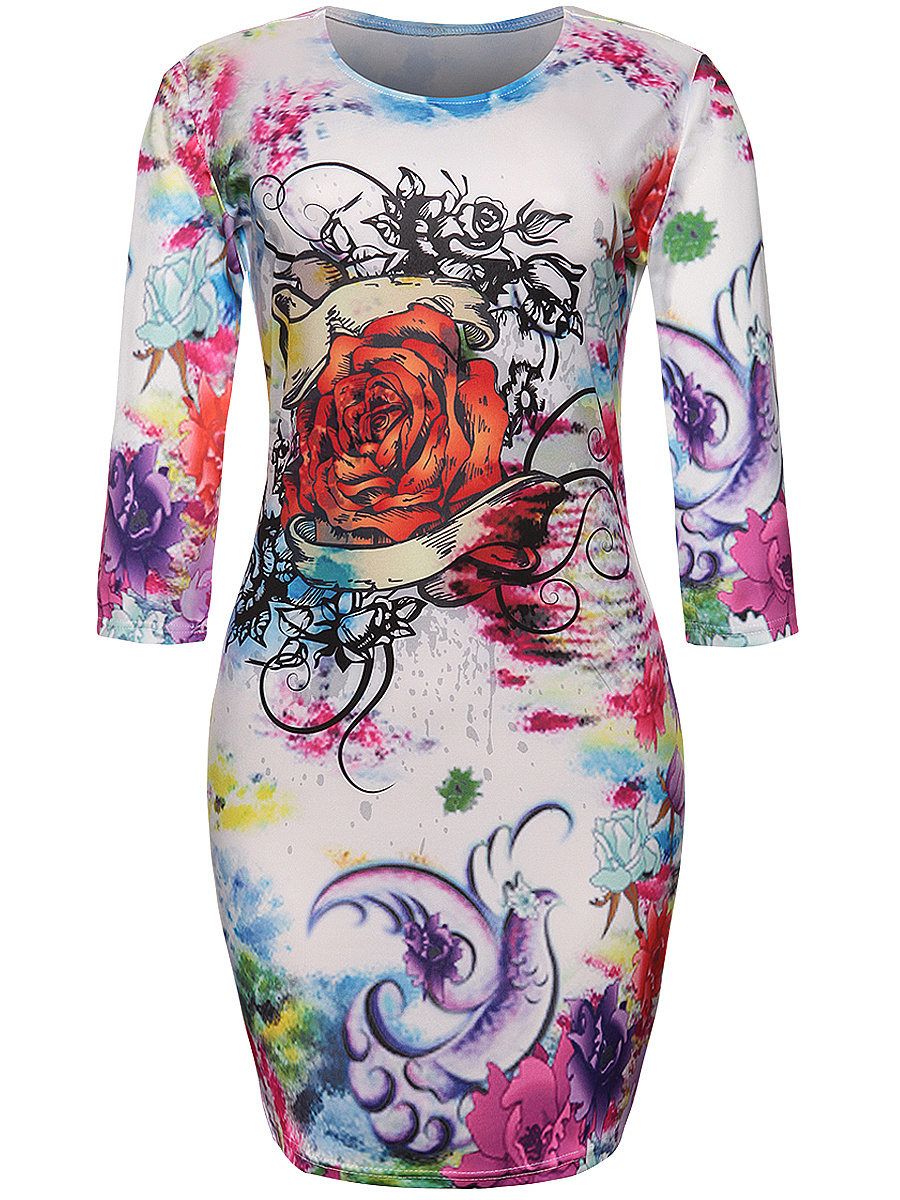 Round Neck Floral Printed Fantastic Bodycon Dress