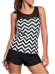Black-White-Racerback-Zigzag-Striped-Swim-Top