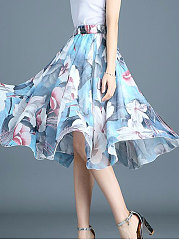 Blue Printed  A-Line Knee-Length Skirts For Women