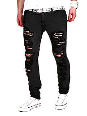 Distressed-Solid-Pocket-Mens-Jeans