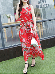Round Neck Belt Floral Printed Chiffon Maxi Dress