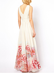 Polyester  V-Neck  Printed Maxi Dress