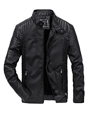 Band-Collar-Fleece-Lined-Quilted-PU-Leather-Plain-Men-Jacket