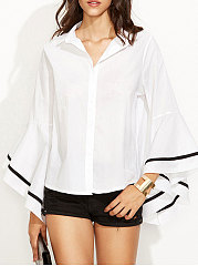 Turn Down Collar  Single Breasted  Plain  Long Sleeve Blouses