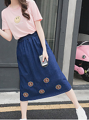 Cutout  Ripped  Embroidery Floral  Flared Maxi Denim Skirts