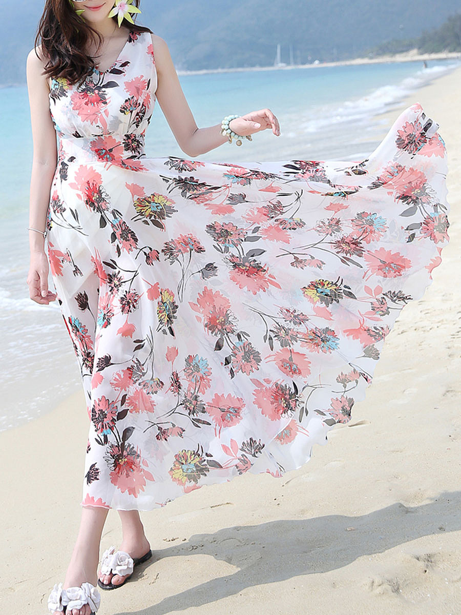Flowy V-Neck  Floral Hollow Out  Chiffon Maxi Dress