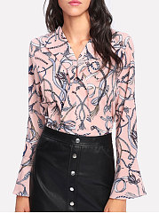 Summer  Spandex  Women  V-Neck  Flounce  Floral Printed  Bell Sleeve  Long Sleeve Blouses