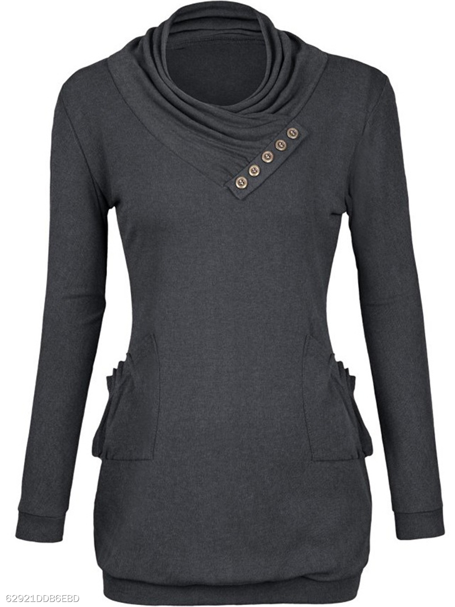 Cowl Neck Patch Pocket Plain Long Sleeve T-Shirt