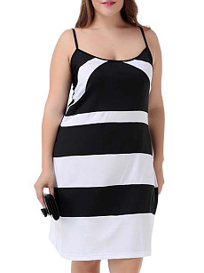 Spaghetti Strap  Backless  Striped Plus Size Bodycon Dress