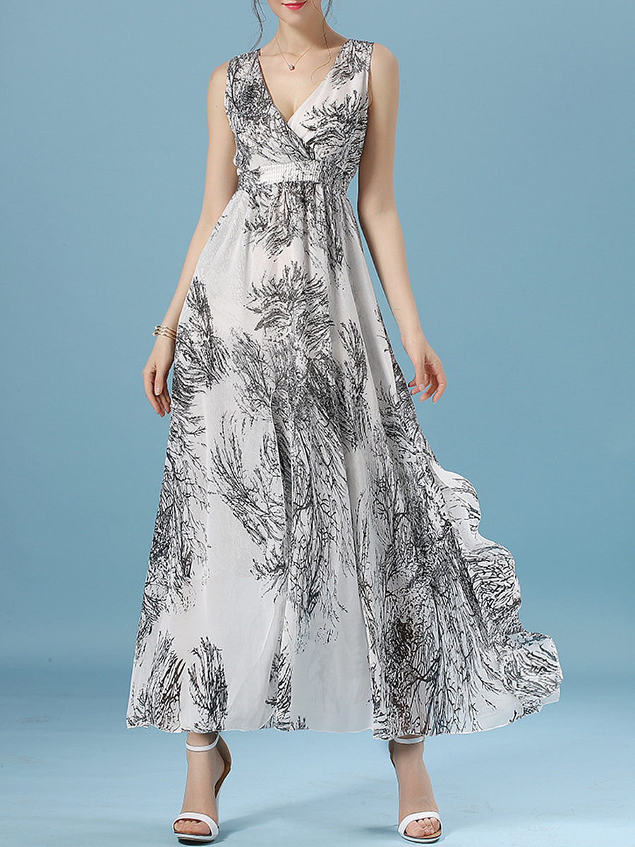 Deep V-Neck Elastic Waist Printed Chiffon Empire Maxi Dress