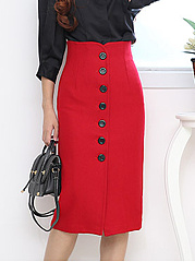 Plain Single Breasted Slit Woolen Pencil Midi Skirt