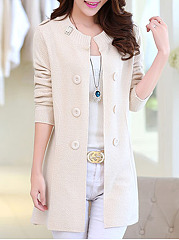 Single Breasted  Decorative Buttons  Plain Cardigans