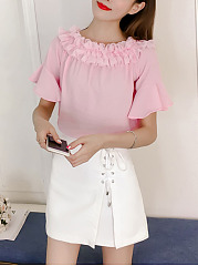 Off Shoulder  Ruffle Trim  Plain  Bell Sleeve Blouse
