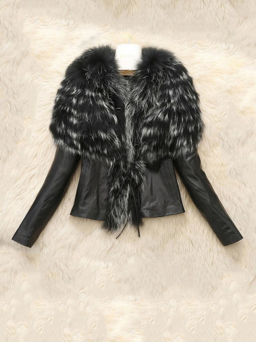 Modern Faux Fur Collar  Color Block Biker Jacket