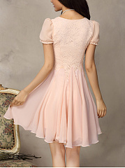 Round Neck Decorative Lace Plain Chiffon Skater Dress