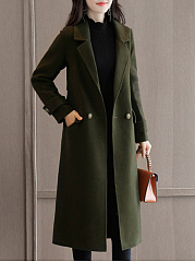 Lapel  Flap Pocket  Plain  Long Sleeve Coats