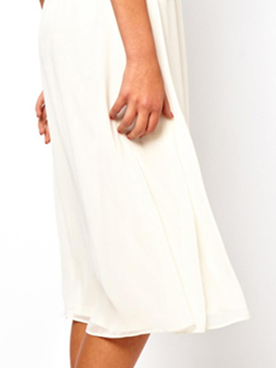Round Neck  Elastic Waist  Plain Skater Dress