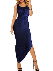Sparkling Scoop Neck Ruched Plain Asymmetric Hem Slit Maxi Dress