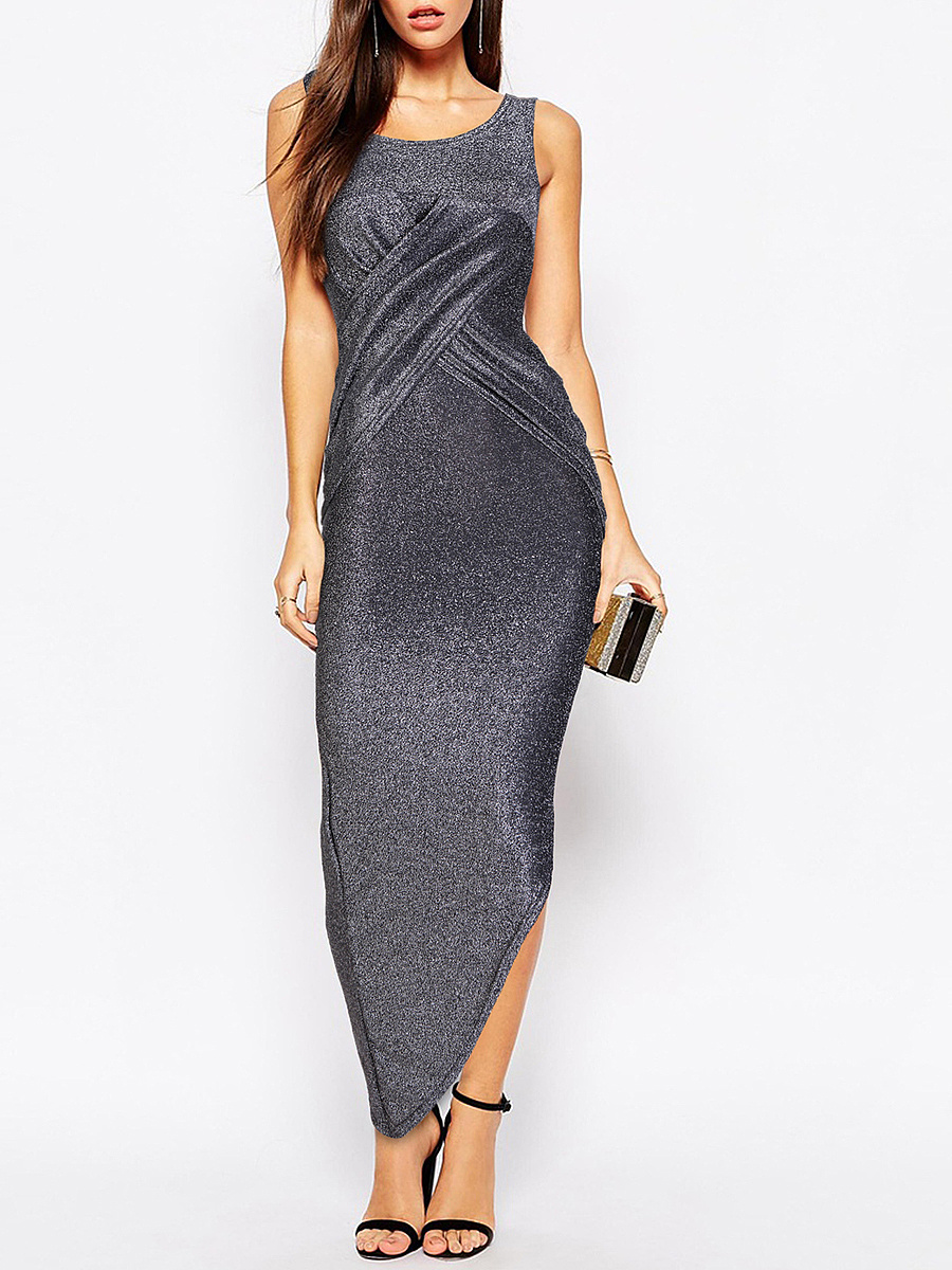 Sparkling Scoop Neck Ruched Plain Asymmetric Hem Slit Maxi Dress. US$ 27.95  US$27.95. Spaghetti Strap High ...