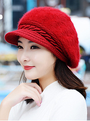 Lady Elegant Stylish Beading Decoration Woolen Hats For Winter