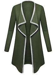 Asymmetric Neck  Contrast Trim  Plain  Long Sleeve Coats