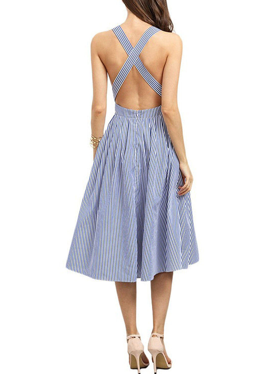 Square Neck X-Back Pinstripe Skater Dress