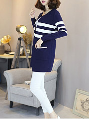 Collarless  Patch Pocket Patchwork  Striped  Long Sleeve Cardigans