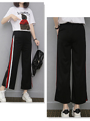 Fashion High Stretch  Striped  Straight Wide-Leg  High-Rise Casual Pants