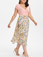 Split Neck  Patchwork  Printed Plus Size Midi & Maxi Dress