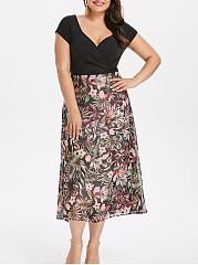Split Neck  Patchwork  Printed Plus Size Midi  Maxi Dress