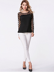 Autumn Spring  Blend  Women  Round Neck  Patchwork See-Through  Polka Dot Long Sleeve T-Shirts