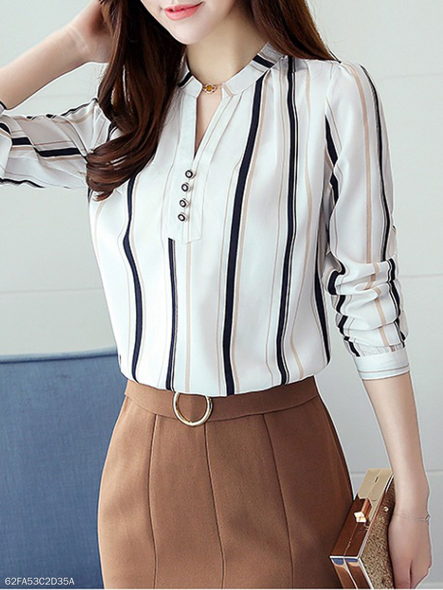 Spring Summer  Chiffon  Women  V-Neck  Decorative Button  Striped  Long Sleeve Blouses